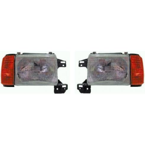 1987-91 Ford Bronco Pickup Composite Headlight Combo Pair Without Chrome Trim