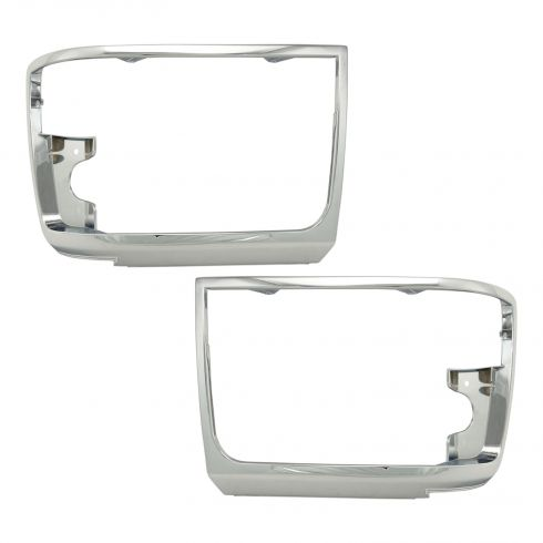 92-96 Ford PU Bronco Chrome Headlight Bezel Pair