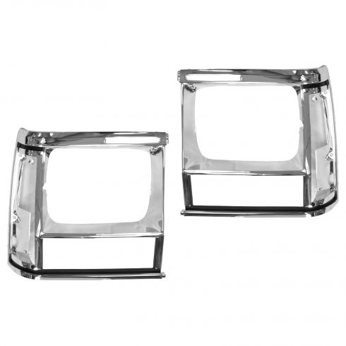 1991-96 Jeep Cherokee Chrome Head LampTrim Bezel Pair