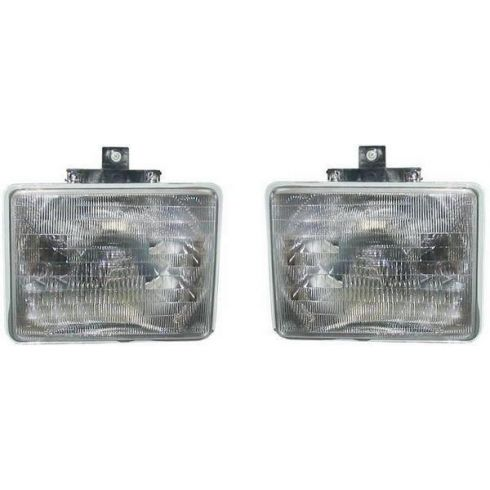1992-97 Ford Aerostar Composite Head Lamp Pair  With Chrome Trim