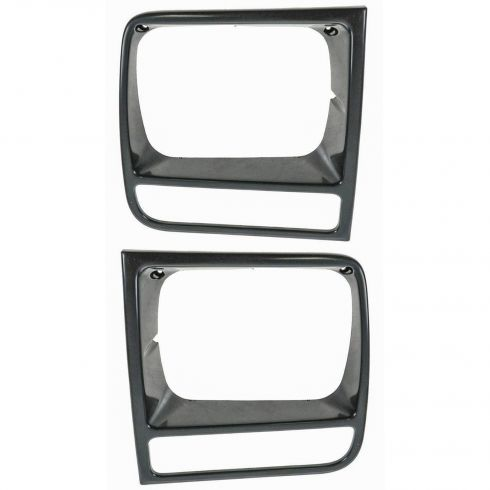 1997-01 Jeep Cherokee Black Head Lamp Trim Bezel Pair