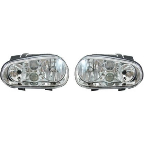 1999-02 VW Golf Headlight w/Fog - OEM - Pair