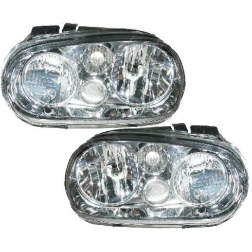 1999-02 VW Golf Headlight w/Fog - Aftermarket - Pair