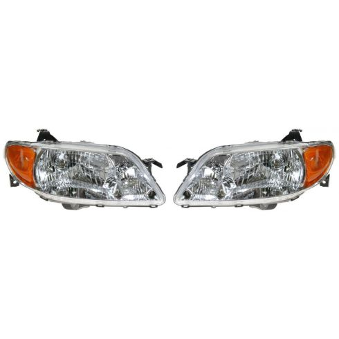 2001-03 Mazda Protege (sedan) Composite Headlight Combo (with alum bezel) Pair