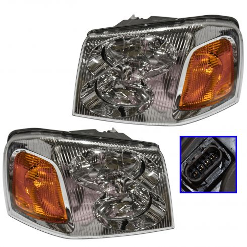 2002-03 GMC Envoy Composite Headlight Combo Pair