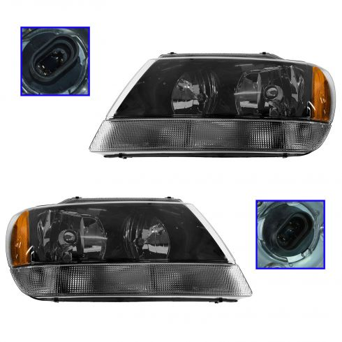 2002-04 Jeep Grand Cherokee Limited Composite Headlight Pair