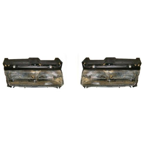 1990-96 Grand Prix Composite Headlight (with center light bar) Pair