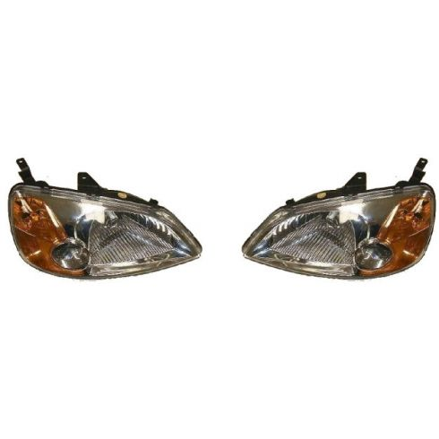 2001-03 Honda Civic Headlight  4 Door Sedan Pair