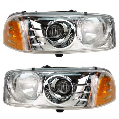 2001-05 Headlight GMC Yukon XL Sierra Denali Pair