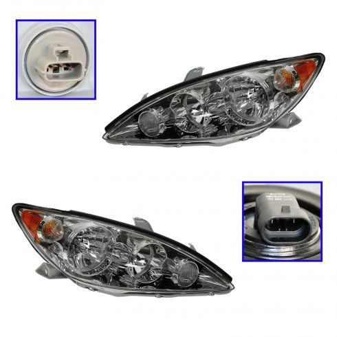 2005 2006 toyota camry le xle us built models headlight with chrome bezel pair toyota. Black Bedroom Furniture Sets. Home Design Ideas