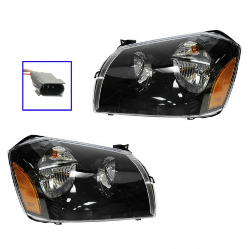 05-07 Dodge Magnum Headlight w/Dark Background PAIR