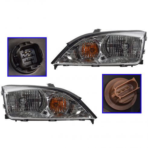 2005-06 Ford Focus ZX4 Non-SVT Headlight Pair