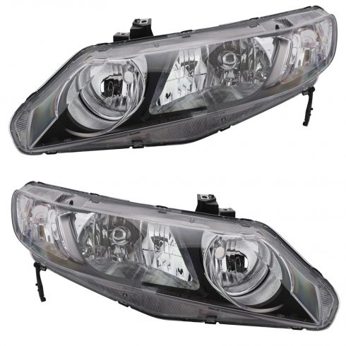 2006 Honda Civic Headlight w/ Clear Parking Light Pair