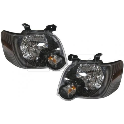 2006-09 Ford Explorer: 2007-09 Sport Trac w/Black Background Headlight PAIR