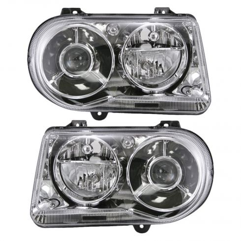 2005-10 Chrysler 300C Halogen Projector Headlight PAIR