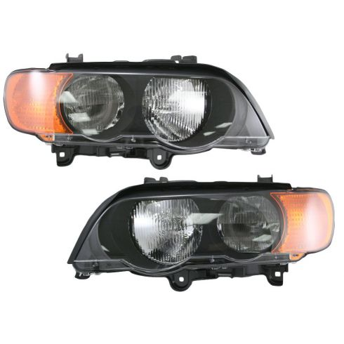 00-03 BMW X5 Headlight Halogen w/Yellow Signal Pair