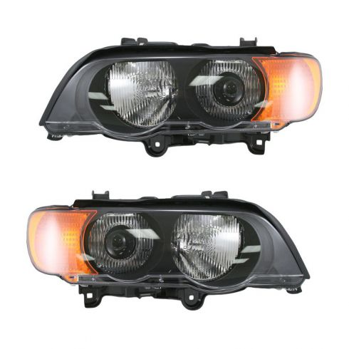 00-03 BMW X5 Headlight HID w/Yellow Signal Pair