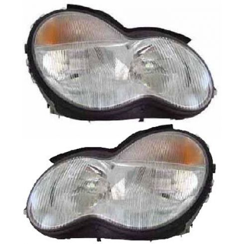 2001-04 Mercedes Benz C Class Halogen Headlight Pair (Except Coupe/Convert)