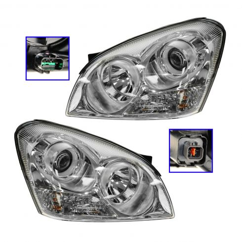 07-08 Kia Optima w/o Apperance Pkg Headlight Pair (from Prod date 4/16/07)