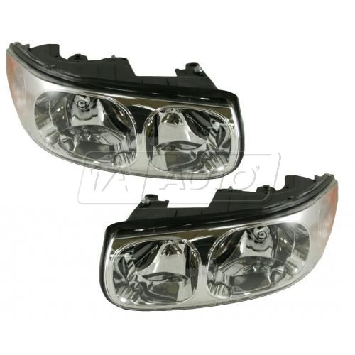 2000 Buick LeSabre Limited Headlight without Lined Hi-Beam Lens Pair