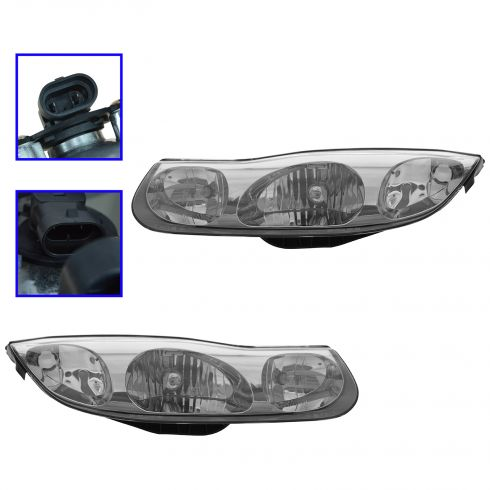 01-02 Saturn S Series Coupe Headlight Pair