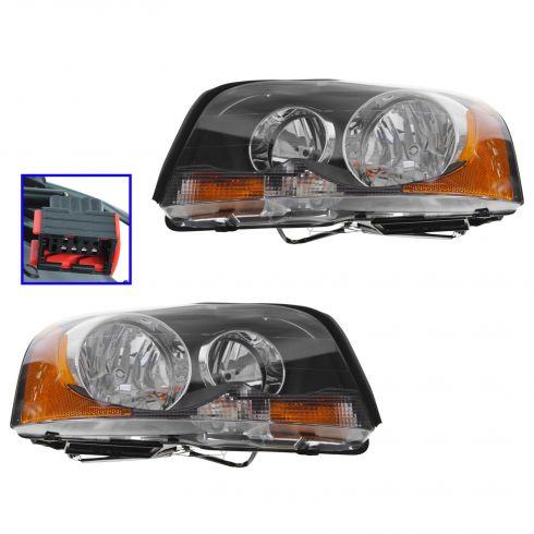 03-08 Volvo XC90 Headlight Halogen Style Pair