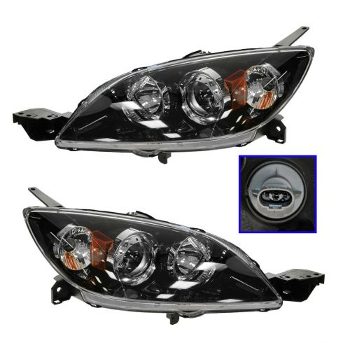 04-09 Mazda 3 Hatchback HID w/o Ballast Headlight PAIR