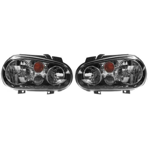 2002-07 VW Golf w/FL Headlight (Chrme & Black) PAIR