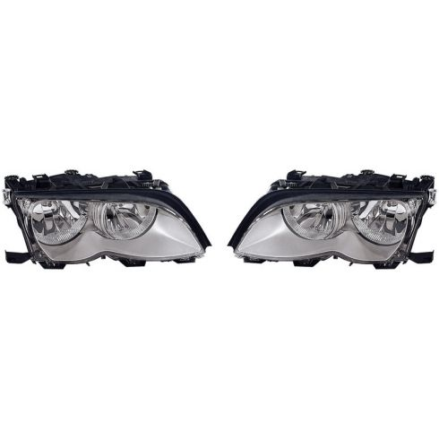 2002-05 BMW Series SDN & SW Halogen Headlight (w/Chrome) PAIR
