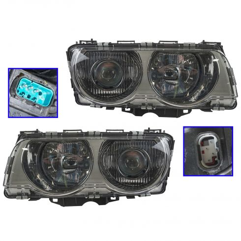 1999-01 BMW 7 Series HID (w/o Ballast) Headlight (w/Chrome) PAIR