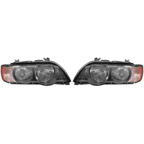 2000-03 BMW X5 Halogen Headlight w/Clear TS PAIR