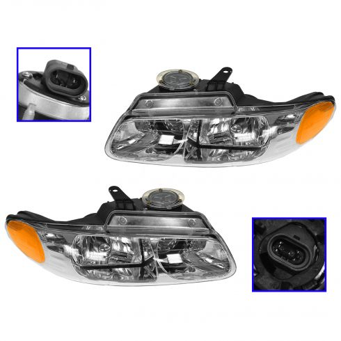 00 Dodge Cravan Chrysler Town & Country Plmouth Voyager Headlight (QUAD) PAIR
