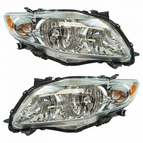 09-10 Toyota Corolla Headlight w/Chrome Housing PAIR