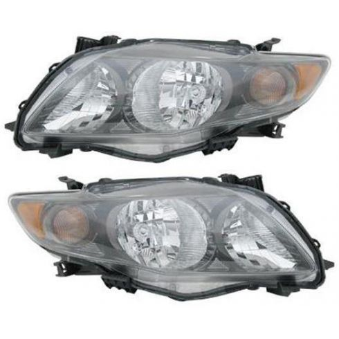 09-10 Toyota Corolla Headlight w/Black Housing PAIR