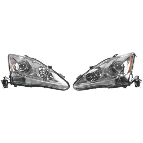 06-08 Lexus IS250, IS350 Halogen Headlight w/o Auto Leveling PAIR
