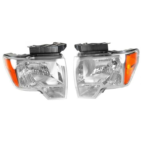 09 (fromt 03/02/09)-11 Ford F150 Headlight w/Chrome Trim Pair