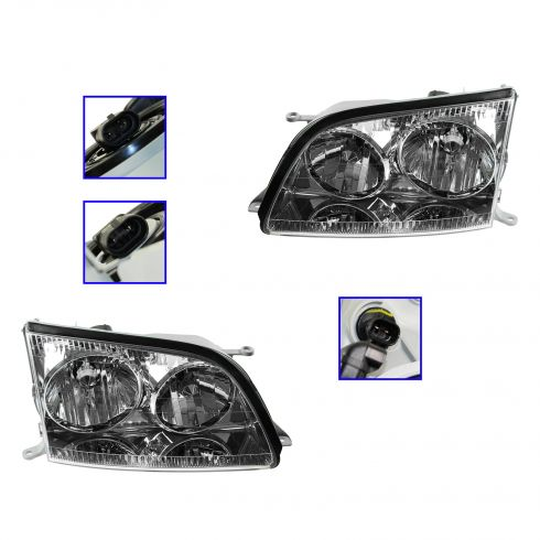 98-00 Lexus LS 400 Headlight PAIR (Except HID)