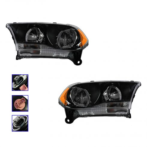 11-12 Dodge Durango Halogen Headlight w/Black Bezel PAIR