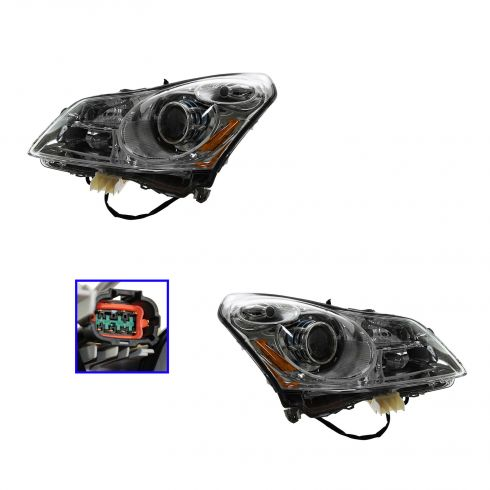 08-09 Infiniti G37 HID Headlight w/Bulbs & Ballast (w/o Adaptive Lamps)  PAIR