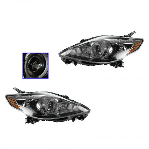 08-10 Mazda 5 Halogen Headlight w/Black Trim PAIR