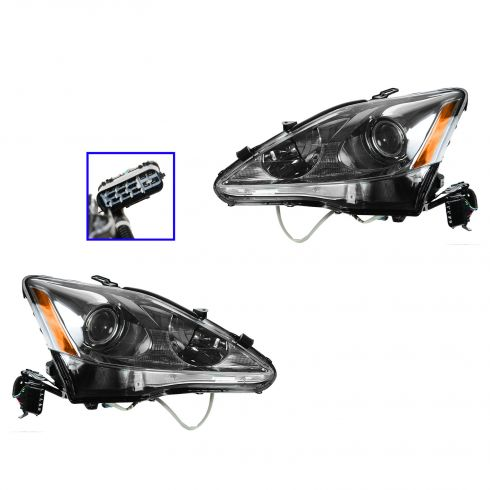 09 Lexus IS250, IS350; 10 IS250 Sedan, IS350 Sedan Halogen Headlight PAIR