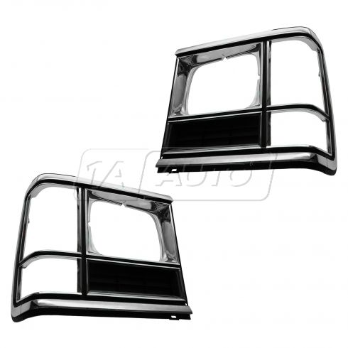 86-93 Dodge Full Size Van (w/Single Rectangulat Headlamp) Chrome & Black Headlight Door Cover PAIR