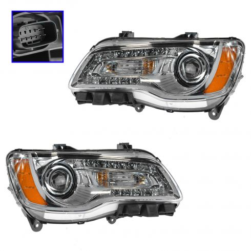 11-14 Chrysler 300 Halogen Headlight w/Chrome Bezel PAIR