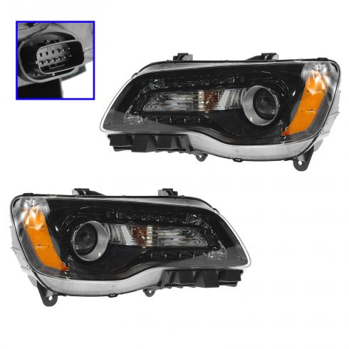 11-14 Chrysler 300 Halogen Headlight w/Black Bezel PAIR