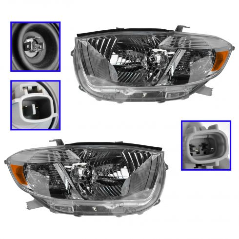 08-10 Toyota Highlander Sport (US Built) Headlight PAIR