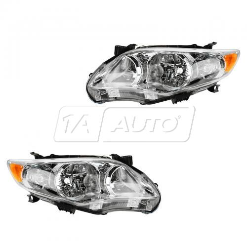 11-12 Toyota Corolla (exc XRS & S) (Japan Built) Headlight w/Chrome Housing PAIR