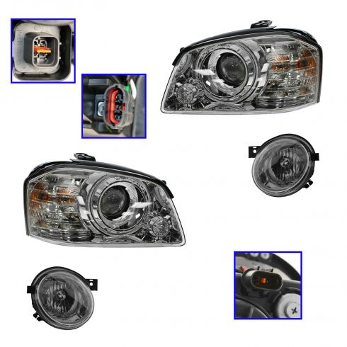 05-06 Kia Magentis Optima Inner and Outer Headlight Set of 4