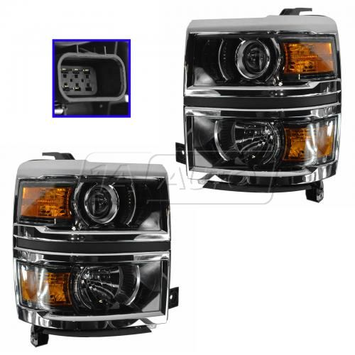 14-15 Chevy Silverado (LTZ, High Country) Halogen Projector Headlight PAIR
