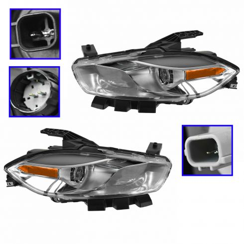13-14 Dodge Dart Halogen Headlight w/ Chrome Trim PAIR