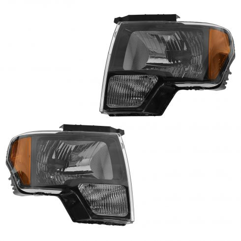 09-14 Ford F150 SVT Raptor Black Bezel Headlight PAIR (Ford)